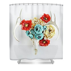Shower Curtain featuring the photograph Antlers And Florals by Stephanie Frey