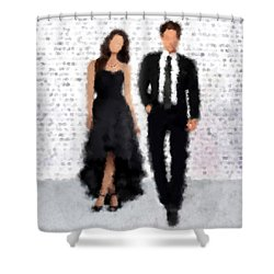Shower Curtain featuring the digital art Antonia And Giovanni by Nancy Levan