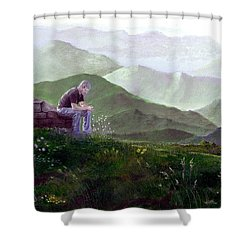Antonio Atop La Rocca De Monte Calvo Shower Curtain by Albert Puskaric