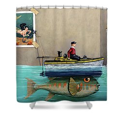 Shower Curtain featuring the painting Anyfin Is Possible - Fisherman Toy Boat And Mermaid Still Life Painting by Linda Apple