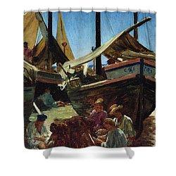 Anzio The Port Shower Curtain by Antoine Auguste Ernest Hebert