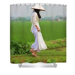Ao Dai Woman Vietnamese Woman Shower Curtain