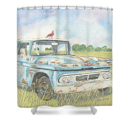 Shower Curtain featuring the drawing Apache Out To Pasture by Arlene Crafton