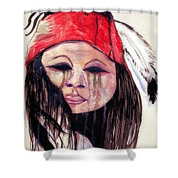 Shower Curtain featuring the painting Watercolor Painting Of Apache Tears By Ayasha Loya by Ayasha Loya