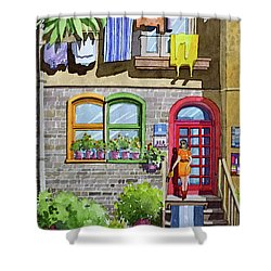Apartment With Red Door Shower Curtain