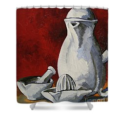 Shower Curtain featuring the painting Apilco No. 4 by Erin Fickert-Rowland