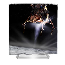 Apollo 11 Moon Landing Shower Curtain by Detlev Van Ravenswaay and Photo Researchers