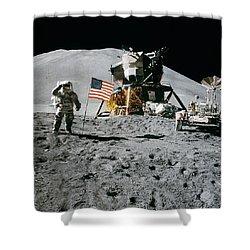 Apollo 15 Lunar Module Pilot James Irwin Salutes The U.s. Flag Shower Curtain