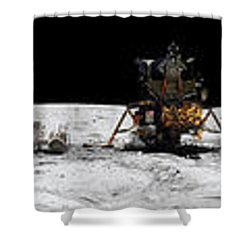 Apollo 16 Landing Site In The Lunar Shower Curtain by Stocktrek Images