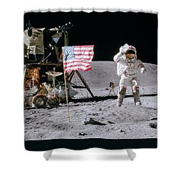 Apollo 16 Shower Curtain by Peter Chilelli