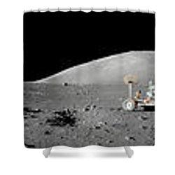 Apollo 17 Moon Panorama Shower Curtain