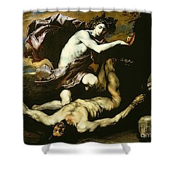 Apollo And Marsyas Shower Curtain by Jusepe de Ribera