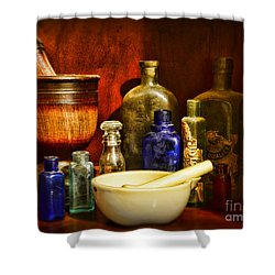 Apothecary - Tools Of The Pharmacist Shower Curtain by Paul Ward