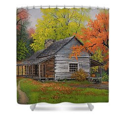Shower Curtain featuring the painting Appalachian Retreat-autumn by Kyle Wood