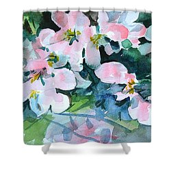 Shower Curtain featuring the painting Apple Blossom Time by Len Stomski