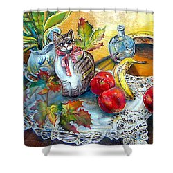 Apple Cat Shower Curtain