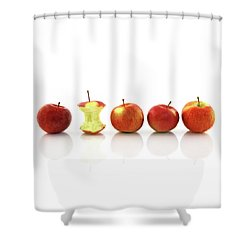 Apple Core Among Whole Apples Shower Curtain by GoodMood Art