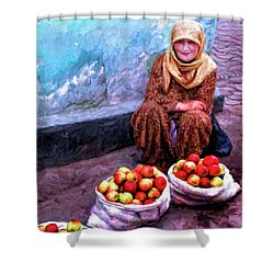 Apple Seller Shower Curtain by Dominic Piperata