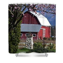 Apple Tree Pink And Barn Red Shower Curtain