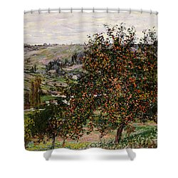 Apple Trees Near Vetheuil Shower Curtain by Claude Monet