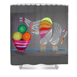 Apples And Oranges And Elephants, Oh My -- Whimsical Still Life W/ Elephant Shower Curtain