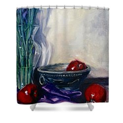 Apples And Silk Shower Curtain by Rebecca Glaze