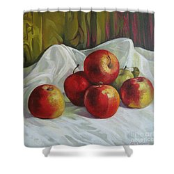 Shower Curtain featuring the painting Apples by Elena Oleniuc
