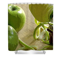Apples Getting Peeled Shower Curtain