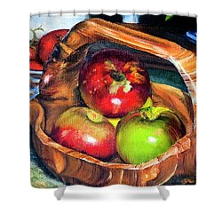 Apples In A Burled Bowl Shower Curtain