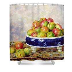 Apples In A Dish Shower Curtain by  Pierre Auguste Renoir