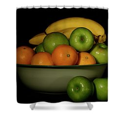 Shower Curtain featuring the photograph Apples, Oranges And Bananas 1 by Angie Tirado