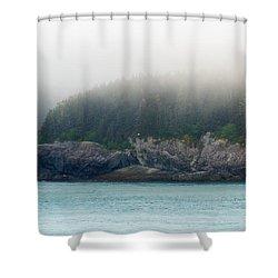 Approaching Glacier Bay Alaska Shower Curtain by Allan Levin