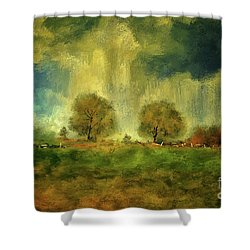 Shower Curtain featuring the digital art Approaching Storm At Antietam by Lois Bryan