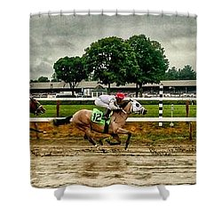 Approaching The Far Turn Shower Curtain
