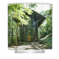 Shower Curtain featuring the photograph Approaching Thorncrown Chapel by Cricket Hackmann