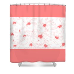 'apricot And White Flower Abstract 2' Shower Curtain