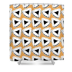 Shower Curtain featuring the mixed media Apricot Hamentashen- Art By Linda Woods by Linda Woods