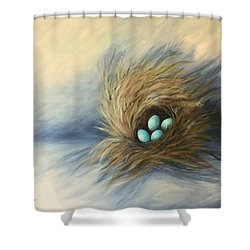April Nest Shower Curtain by Torrie Smiley