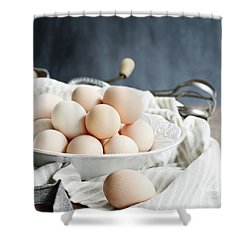 Apron And Eggs On Wooden Table Shower Curtain