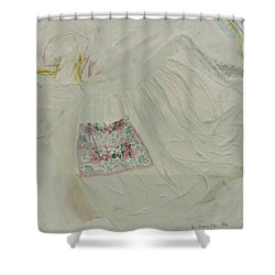 Apron On Canvas - Mixed Media Shower Curtain