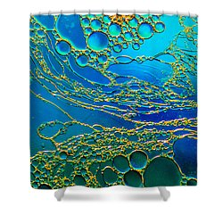 Aqua Abstraction Shower Curtain by Bruce Pritchett
