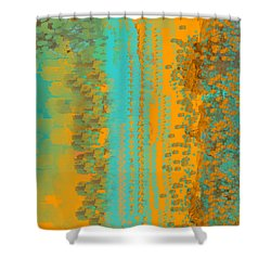 Aqua And Copper Abstract Shower Curtain
