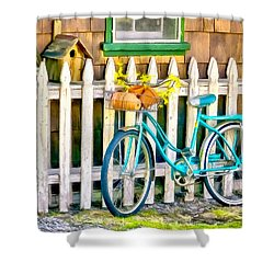 Aqua Antique Bicycle Along Fence Shower Curtain