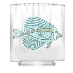 Aqua Fish Shower Curtain by Stephanie Troxell