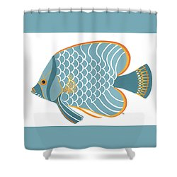 Aqua Mid Century Fish Shower Curtain by Stephanie Troxell