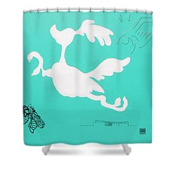 Aqua Palm Springs Idyll Shower Curtain by Stan  Magnan