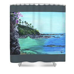 Aqua Passage Shower Curtain by Judy Via-Wolff