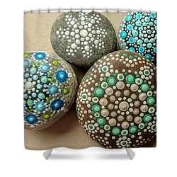 Shower Curtain featuring the painting Aqua Pondering Pebbles by Kathy Sheeran