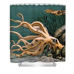 Aquarium Octopus Vintage Poster Restored Shower Curtain