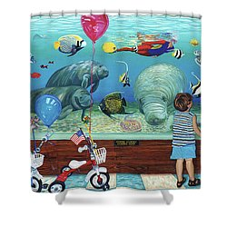 Aquarium With Twins Towel Version Shower Curtain